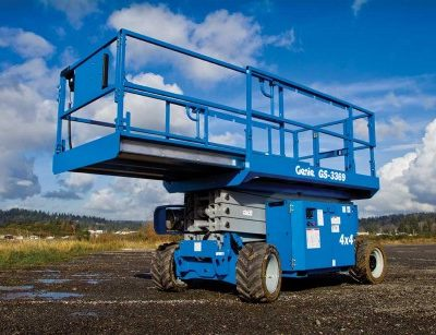 Call 780-831-0063 to rent this Rough Terrain Scissor Lift today!